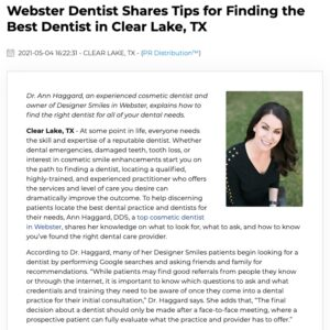 Webster Cosmetic Dentist Ann Haggard, DDS Gives Tips on Finding the Best Dentist in Clear Lake