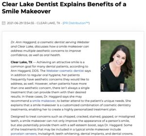 Dr. Ann Haggard, a cosmetic dentist in Clear Lake and Webster, reviews how a smile makeover can benefit individuals with multiple cosmetic concerns about their teeth.